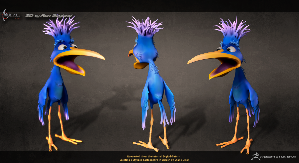 Stylized Cartoon Bird in ZBrush by R.Mayland