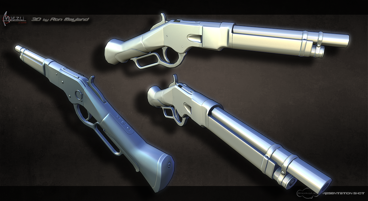 low-poly WINCHESTER DELUXE MARES LEG 1892 MODEL RIFLE by Ron Mayland